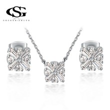 G&S CZ Valentine's day gifts Platinum plating fashion simple set jewelry arrow heart cuting for goddess 1070006734(China (Mainland))