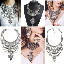2016 wholesale Necklaces & Pendants Vintage Crystal Maxi Choker Statement Silver Collier Femme Boho Big Fashion Women Jewellery(China (Mainland))