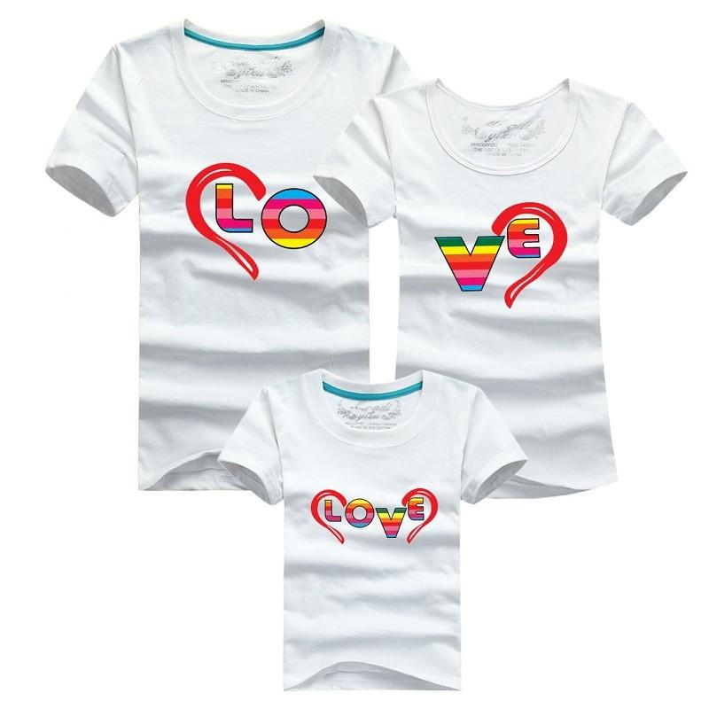 Pseewe семьи соответствующие OutfitsКороткий рукав хлопок футболка семья взгляд мама и дочь соответствующие одежда мужская футболки M-4XL