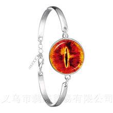 Дракон браслет evil eye Дракон глаз, стекло кабошон Посеребренная пуговица браслет Мода ожерелье от сглаза Для мужчин модные(China)