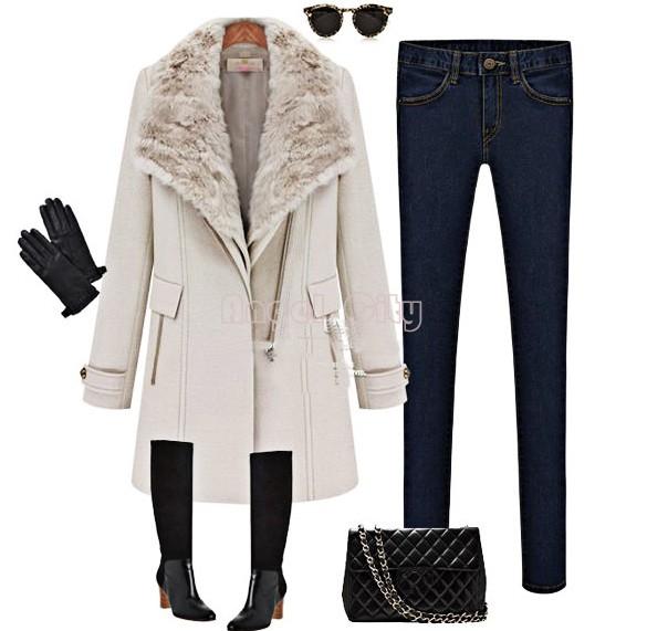 Hot Women Cashmere Fur Collar Outwear Winter Warm Wool Coat Personality Oblique Zipper Long Jacket Casual Trench B20