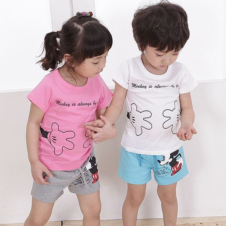 Children's clothing child suit 2015 summer MICKEY MOUSE 100% Girl boy short-sleeve cotton shorts twinset set - Spring Children Clothes and Shoes store