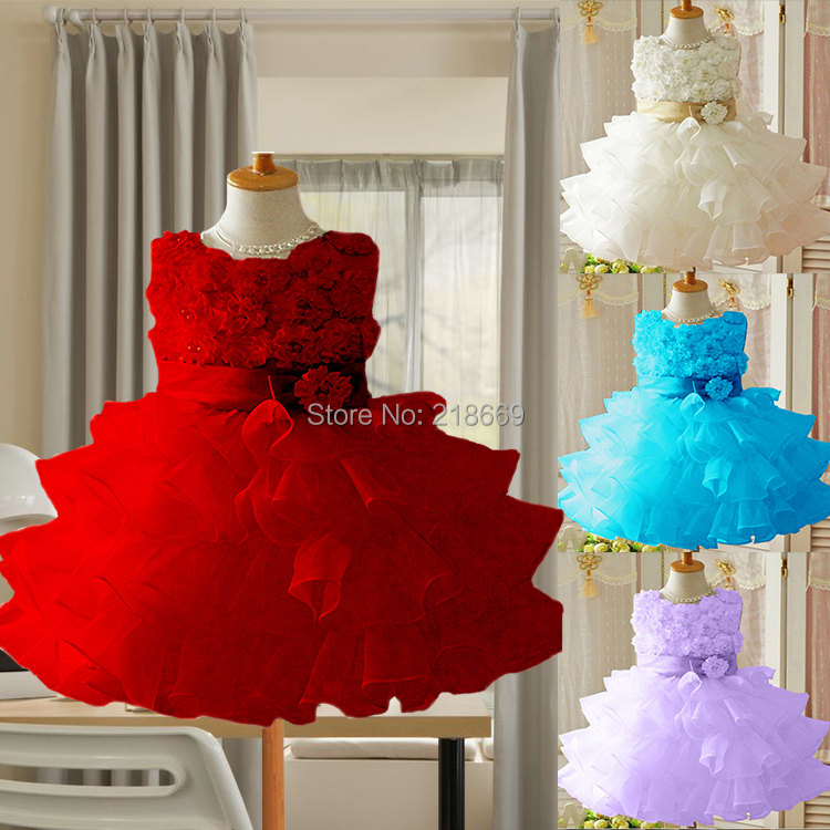 2015 Chirstmas Kids Girl baby Dress Rose Baby Girl Princess Clothing Infant Dress With Bow Girl Formal Party Dress 19886(China (Mainland))