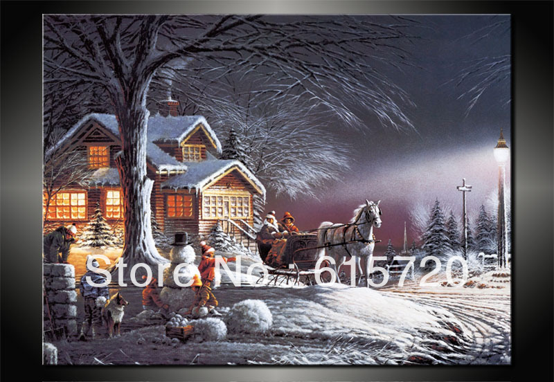 Terry Redlin ( Winter Wonderland ) Season oil painting Giclee Art print reproduction on canvas decoration home wall larger art