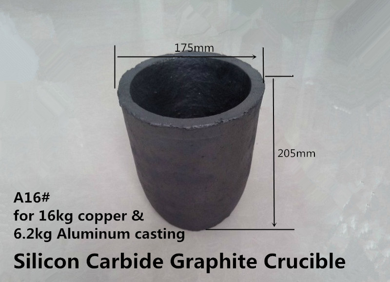 A16# sic graphite crucibleH205*OD 175*BD127mm for 6.2 kg Aluminum Melting/smelting non-ferrous metal/Graphite Crucible<br><br>Aliexpress