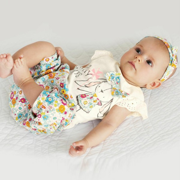 Stylish Baby Girls 3PCS Set Floral Bowknot T Shirts+Short Pants+Headband Outfits Baby Clothing<br><br>Aliexpress