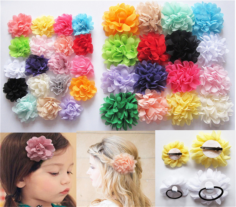 Cheap 2 Style Baby Headbands Girl Headwear Chiffon Fabric Flower Hair Clips Grips Slides Ponytail Bobbles Accessory JE596 - xycharm store