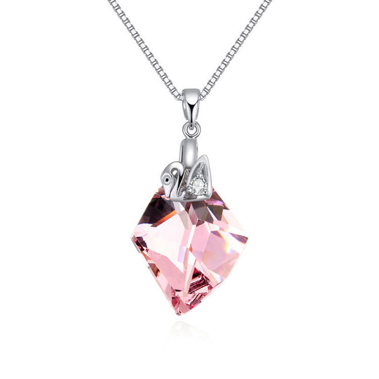 Wholesale Big Crystal Necklaces Pendants With Swan Charm Swarovski Elements Vintage Women Sterling Silver Jewelry Chain(China (Mainland))