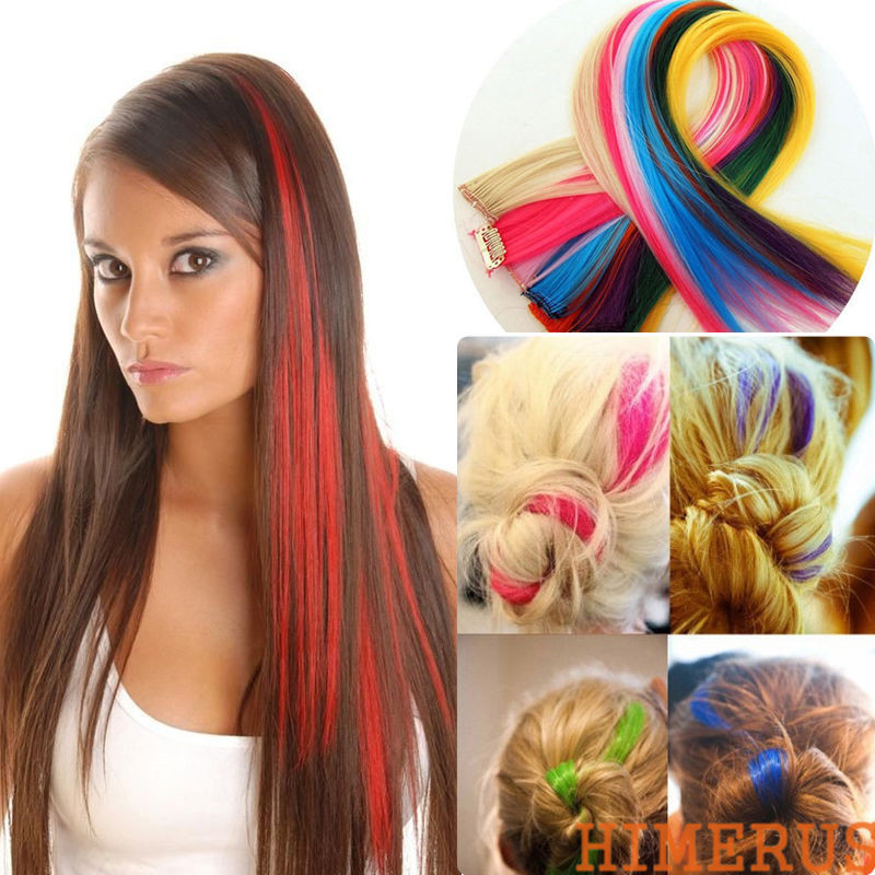 Гаджет  Fashion High Quality Women clip In On Colorful Hair piece Synthetic Straight Hair Extensions Highlight None Волосы и аксессуары