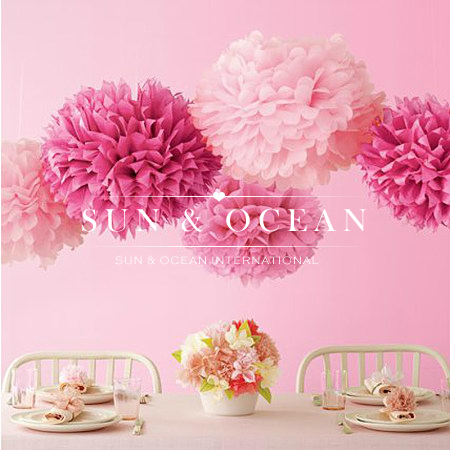 "30pcs 4"" 6"" 8""(10cm 15cm 20cm) Tissue Paper Pom Poms Mix Color Flower Balls for Wedding party home Decoration(China (Mainland))"