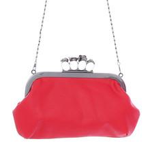 New Women Skeleton Skull Finger Clutch Evening Handbags PU Leather Knuckle Rings Chain One shoulder Bag
