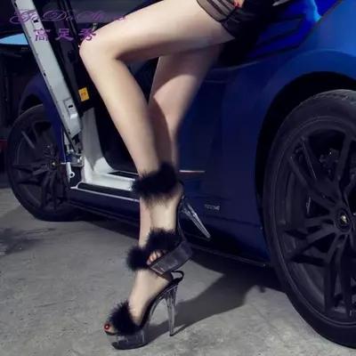 2016 summer fun super high heels 15 cm high nightclub sexy stilettos crystalline waterproof sandals maomao big yards of shoes