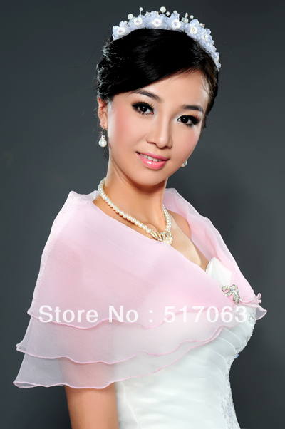 Hot Sale Colourful Elegant Bridal Wedding Bolero Cape Scarf Bubble Wraps Thin for Women(China (Mainland))