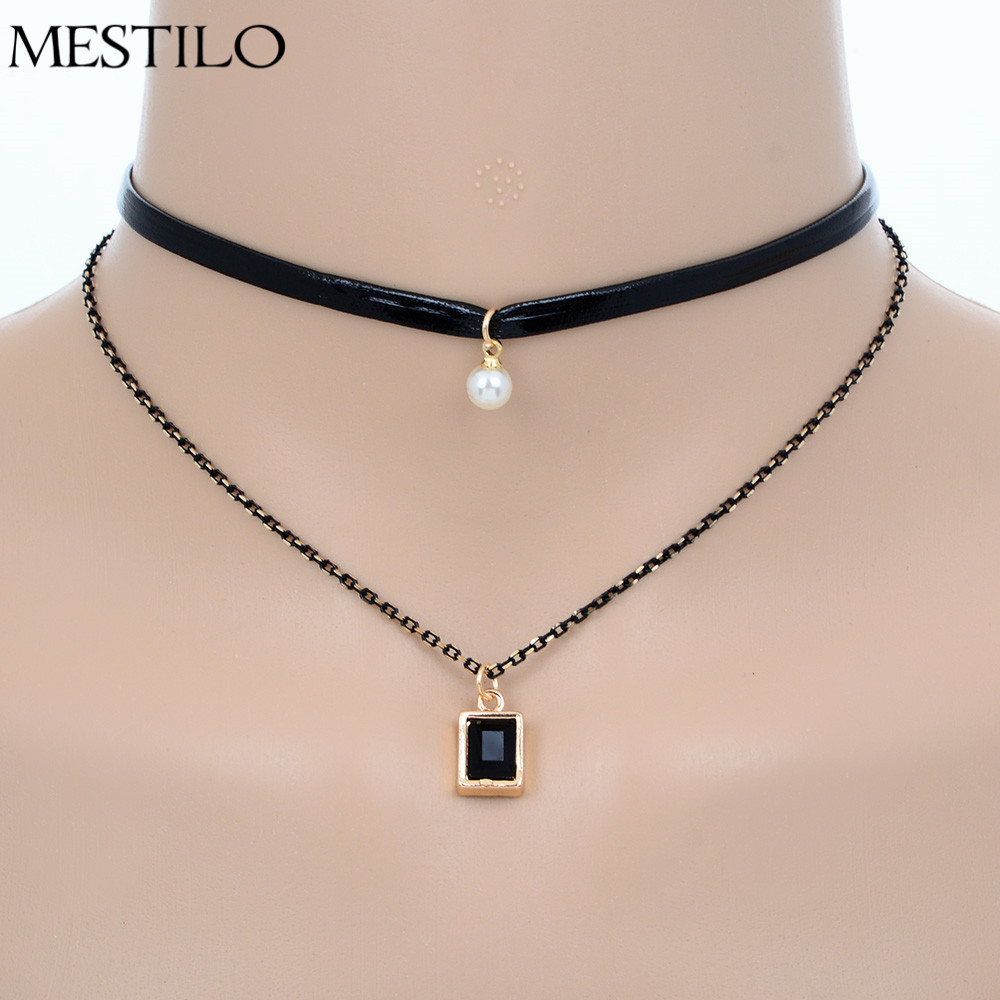 Double Layer Black Faux Leather Choker Necklace Gothic Chain Charm Pendant  Trendy Jewelry Simulated Pearl Short