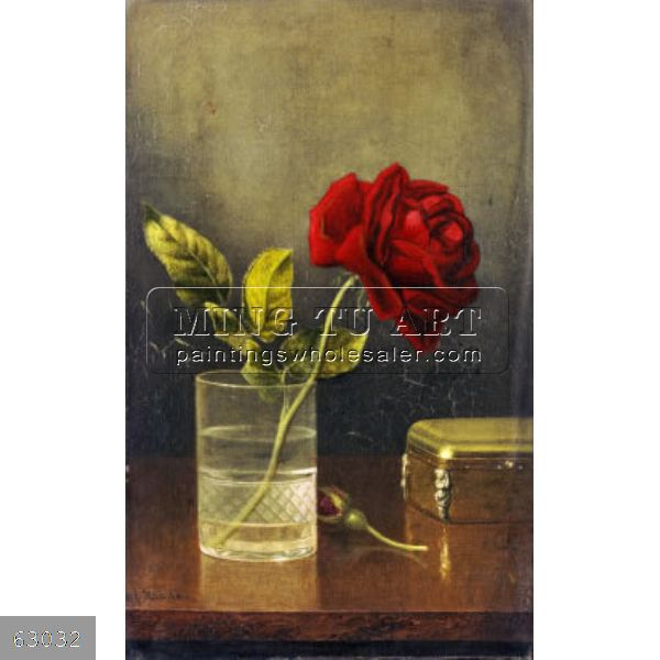 100% Handmade beautiful still life flower in glass Oil Painting on canvas no frame, The Queen of Roses(China (Mainland))