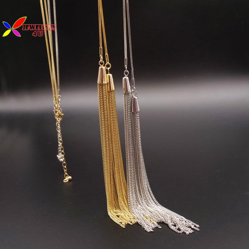2016 Christmas Gift Fashion Elegant Gold Silver Long Tassel Snake Chain Sweater Female Pendant Necklace jewelry collier de femme(China (Mainland))