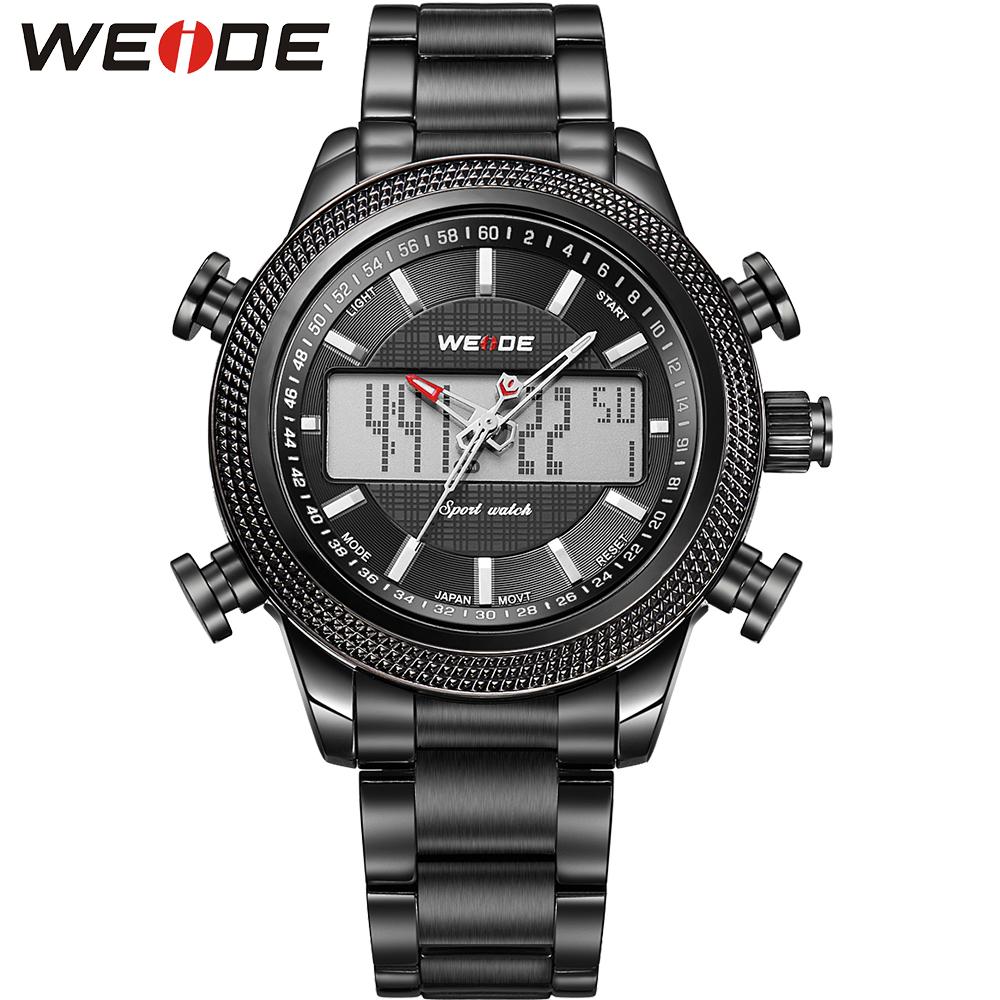 WEIDE Men Sports Watches Analog Digital Quartz Watch Dual Movt Multiple Time Zone Display Full Steel Waterproof Wristwatches<br><br>Aliexpress