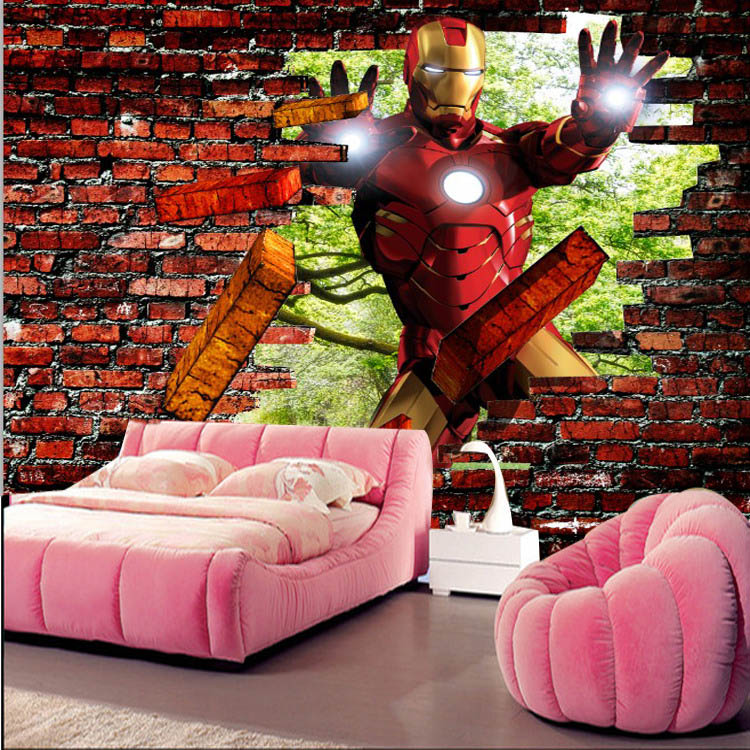 Iron man brick photo wallpaper avengers wallpaper custom for Brick mural wallpaper