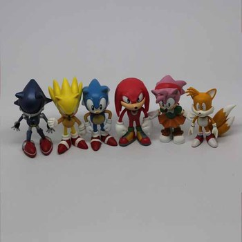 Wholesell Free Shipping FS Sonic the Hedgehog Mini Figures Collectibles 6pcs Loose for Christmas' Day Cute Gift/Toy