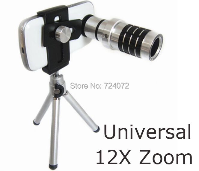 Universal 12x Zoom Optical Lens Mobile Phone Telescope +Tripod+Clip+Retail Box For iPhone6 5 Sumsung HTC Aluminum Telescope Lens