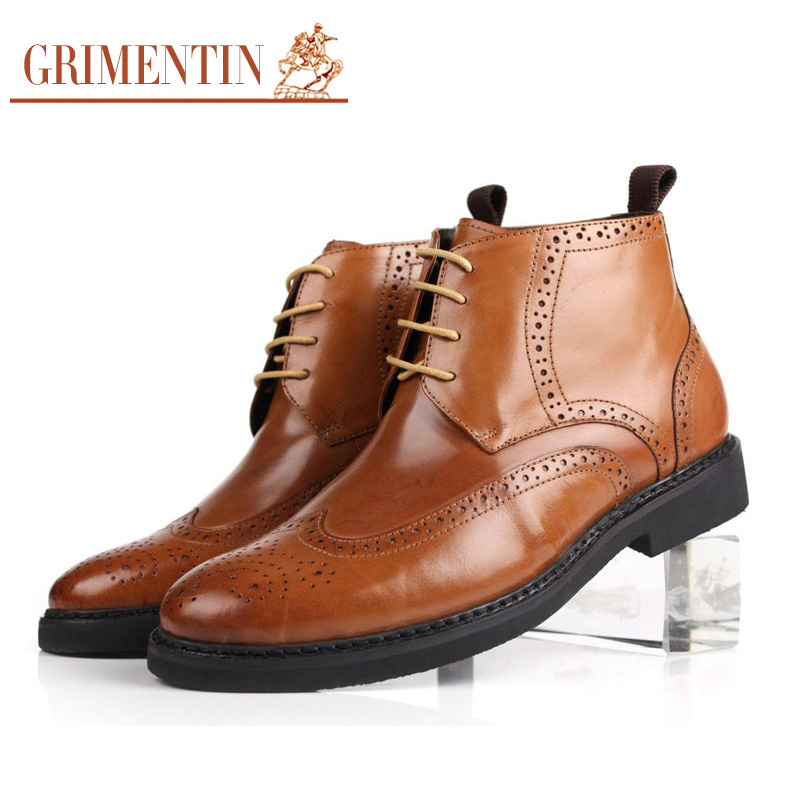 GRIMENTIN fashion winter mens ankle boots high quality genuine leather comfortable designer carved men shoes for business b460(China (Mainland))