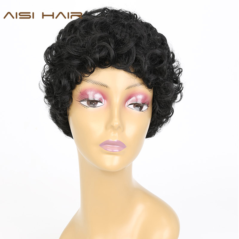AISI HAIR Synthetic Short Pixie Cut Wigs for Black Women Curly Hair With Bangs Hairstyle(China (Mainland))