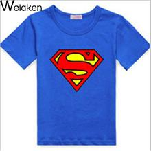 2016 Summer Style Cartoon Superman Spider-Man Print Baby Boy T-Shirt Short Sleeve Children Tees Outerwear Kids T Shirt