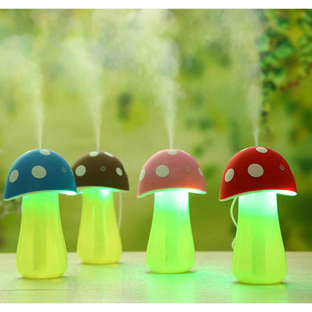 Mini Mushroom Night Light Touch Switch Home Steam Purifier Atomizer LED Ultrasonic Humidifier Mist Maker for Car Baby Room(China (Mainland))