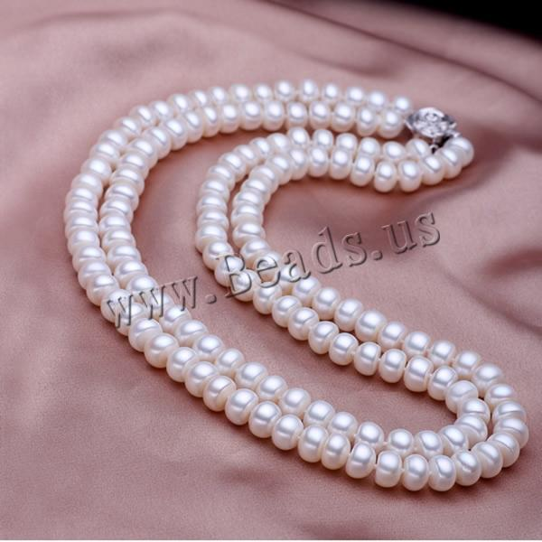 Free shipping!!!Natural Freshwater Pearl Necklace,Sexy jewelry, sterling silver box clasp, Flat Round, 2-strand, white, 8-9mm