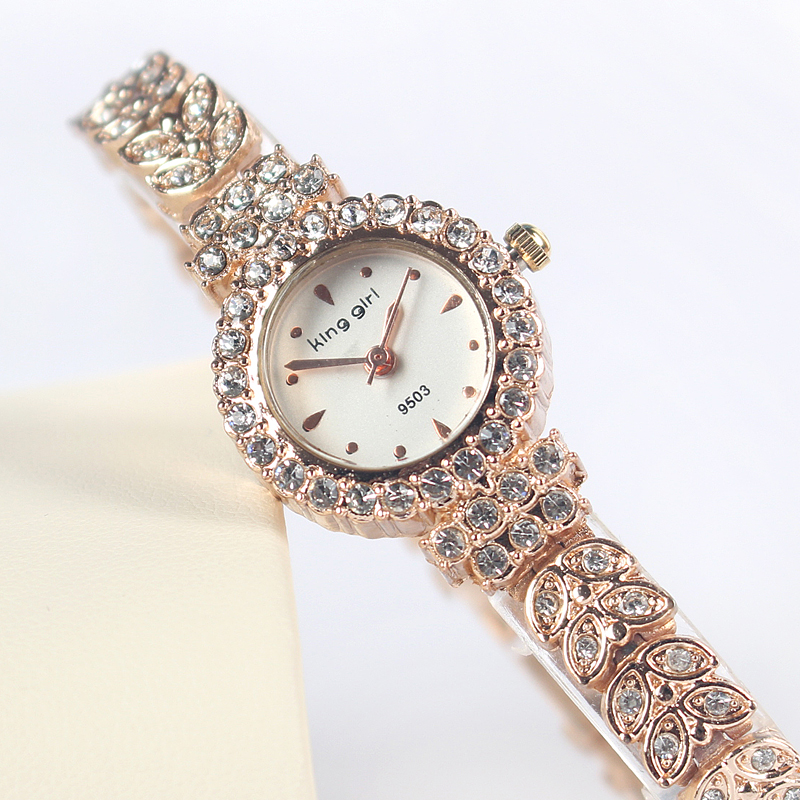 Rose Gold Fashion Rhinestone Crystal Women Watch Round Analog Leaf buds strap Wristwatches Ladies circular Quartz Watches - Mia shop store