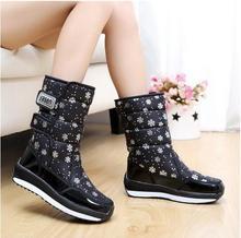 2016 mujeres impermeable botas de nieve copo de nieve de algodón súper calientes zapatos de plataforma de invierno botines de las mujeres(China (Mainland))