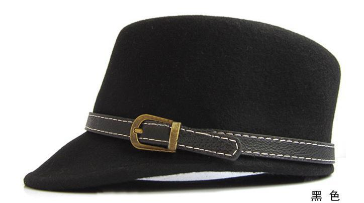Free shipping 2013 fashion leisure leather buckle wool exchange of wool hat equestrian cap British knight hat in winter(China (Mainland))