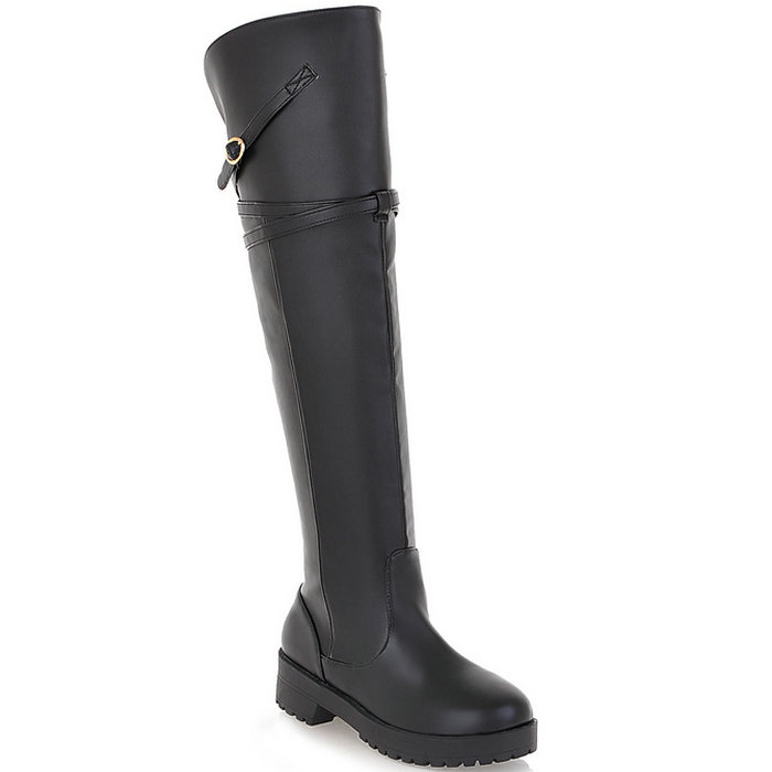 Women Buckle Over the Knee Boots 2015 Knight Thick High Heels Boots for Women Autumn Winter Shoes Platform Winter Boots
