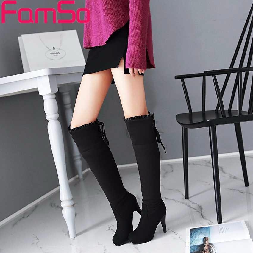 ซื้อ ขนาดบวก34-43 2016ใหม่สไตล์R Etroผู้หญิงบู๊ทส์สีดำสีแดงต้นขาสูงรองเท้ารองเท้าแต่งงานฤดูหนาวที่อบอุ่นของผู้หญิงบู๊ทส์หิมะSBT4179