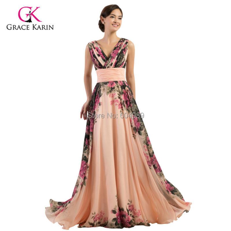 Grace Karin Chiffon Padded Flowers Pattern Long Formal Evening Dresses 2015 Floor Length Women Prom Gown vestido longo 7502(Hong Kong)