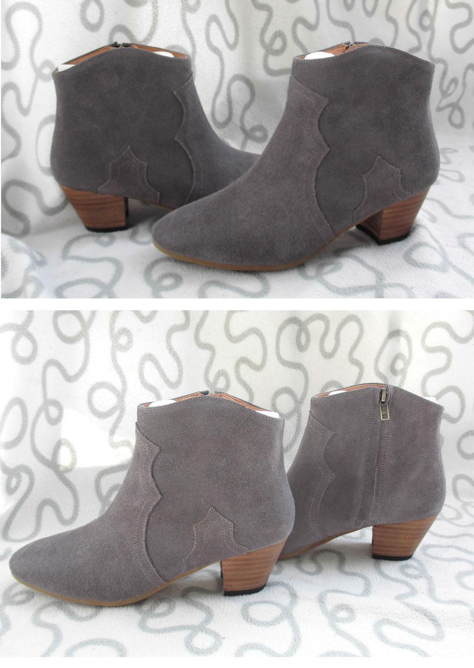 ซื้อ 2017ฤดูใบไม้ผลิ/ฤดูใบไม้ร่วงรองเท้าข้อเท้าสำหรับผู้หญิงขนาดกลางส้น100% Nubuckหนังแท้ข้อเท้าของผู้หญิงแฟชั่นบูตสั้นมาร์ตินรองเท้า
