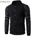 New Trend Black Varsity Jacket Men Boy Bombers Veste Homme 2016 Fashion Pu Leather Sleeve Slim