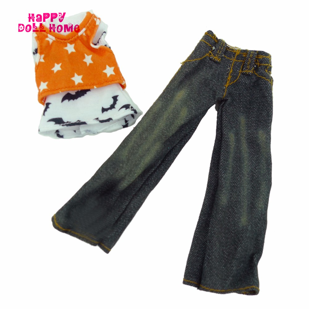 Trend Handmade Feminine Outfit Vest Denims Pants Garments For Barbie Doll Equipment Dollhouse Fake Play Toys Reward