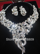 2016 Luxurious Crystal Wedding jewelry sets New  fashion Rhinestone Necklace set for Women Wedding formal dress accessories(China (Mainland))