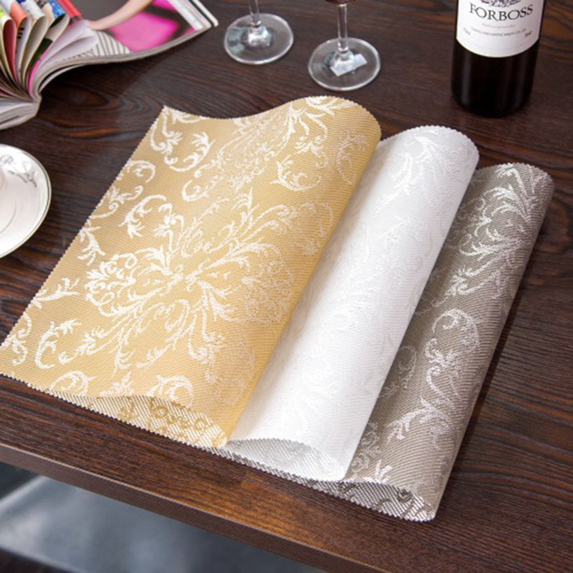4pcs/set Placemat Fashion pvc Square Dining Table Placemats Coasters Waterproof Table Cloth Pad Slip-Resistant Pad(China (Mainland))