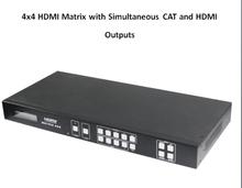 Бесплатная доставка 4 x 4 микро-hdmi матрица с одновременным кошка и HDMI выходы, Микро-hdmi сигнал до 164ft / 50 м для многокомнатная подключения к 1080 P