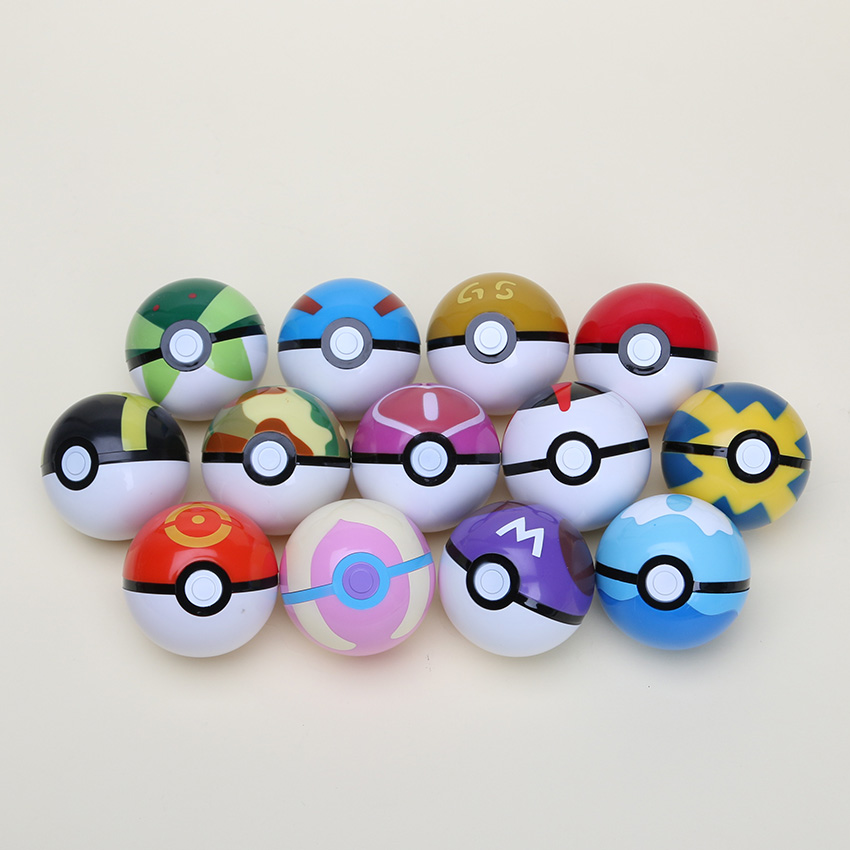 5sets Poke Ball Figures 13pcs/set ABS PokeBall Toys 7CM Super Pikachu Ball Toys Juguetes Gift(China (Mainland))