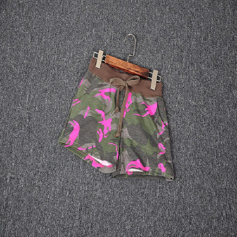 Miss Europe 2016 new elastic waist fluorescent color camouflage shorts home leisure sports shorts female fashion Running c-302(China (Mainland))