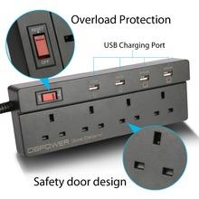 DBPOWER 4 Tomas De Corriente y 4 USB Regleta Protegida Contra Sobretensiones Regleta de Alimentación Adaptador de Carga USB Cable de extensión 1.8 M Cable Enchufe de REINO UNIDO