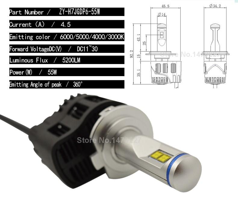 Led H7 55W 5200LM Philips MZ LED Car Headlight Canbus Kit ...