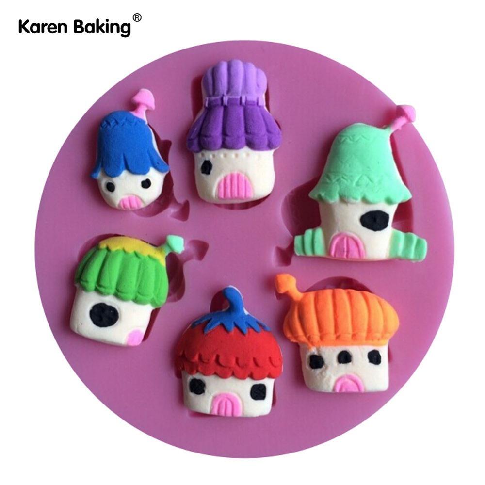 The Cute Mushroom Houses Fondant Cake Molds Tools Decorating Cooking Tools-C383(China (Mainland))