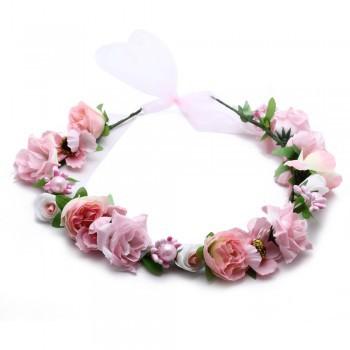 2PCS Pink Rose Flower Girl Bridal Headpiece Floral Halo Head Wreath Wedding(China (Mainland))