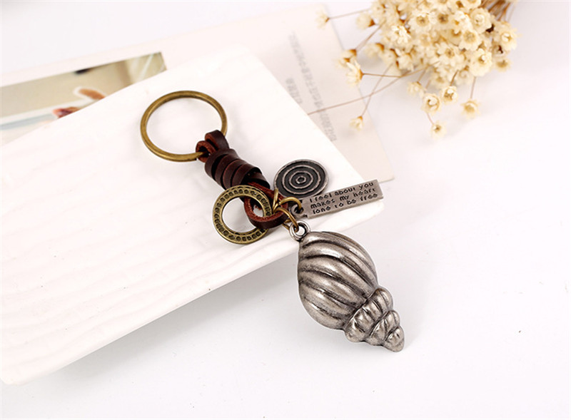 pure snow Fashion Ideas Factory Retro Punk Conch Key Chain Backpack And Car Alloy Leather Key Chains Pendant Unisex Gift