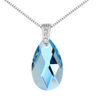 High Quality Water Drop Necklace Pendant Women Jewelry Blue Crystal from Swarovski Elements White Gold Plated Fashion Gift 13613