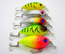 5pcs Fishing bait 3D Crank Lures 7.7g/6cm High Quality Fishing lure 6# high carbon steel hook fishing tackle free shipping baits